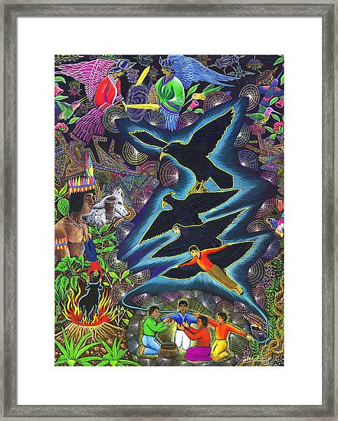 Framed Print featuring the painting Transformacion Del Chaman En Aguila  by Pablo Amaringo
