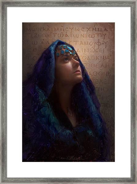 Transformation - Woman With Romans 12 2 Written In Original Greek  Framed Print
