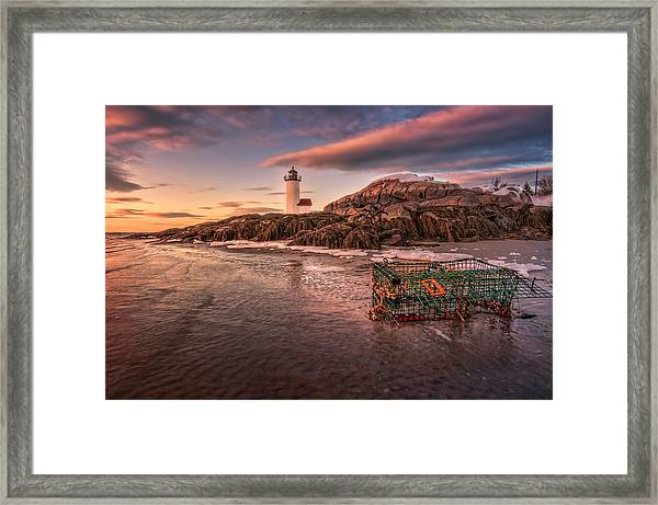 Trapped Ice At Annisquam Light Framed Print