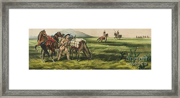 Trappers On The Prairie  Peace Or War Framed Print