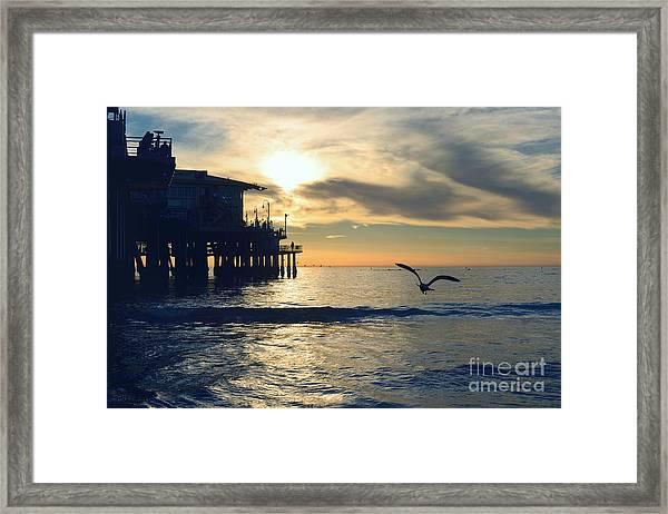 Seagull Pier Sunrise Seascape C1 Framed Print