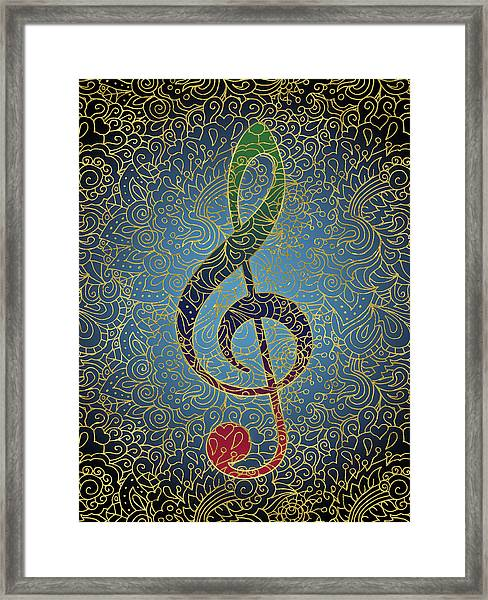 Treble Clef Colorful Gold Framed Print