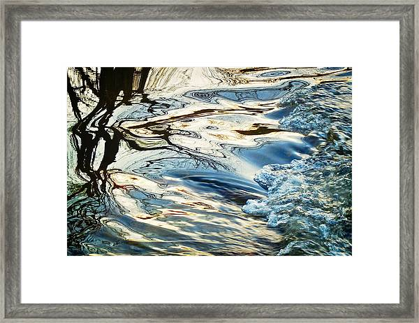 Tree And Water Abstract, Boulder Creek Framed Print