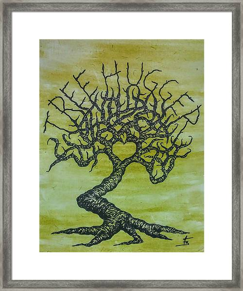 Framed Print featuring the drawing Tree Hugger Love Tree by Aaron Bombalicki