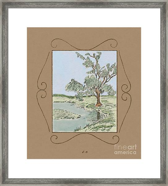 Tree Mirror In Lake Framed Print