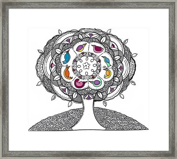 Tree Of Life - Ink Drawing Framed Print