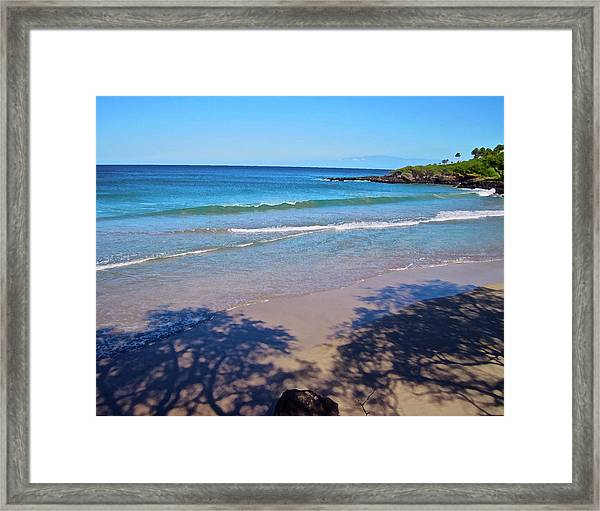 Tree Shadows At Hapuna Beach Framed Print