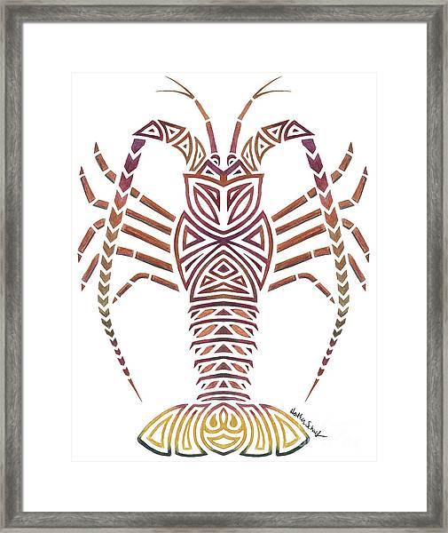 Tribal Caribbean Lobster Framed Print