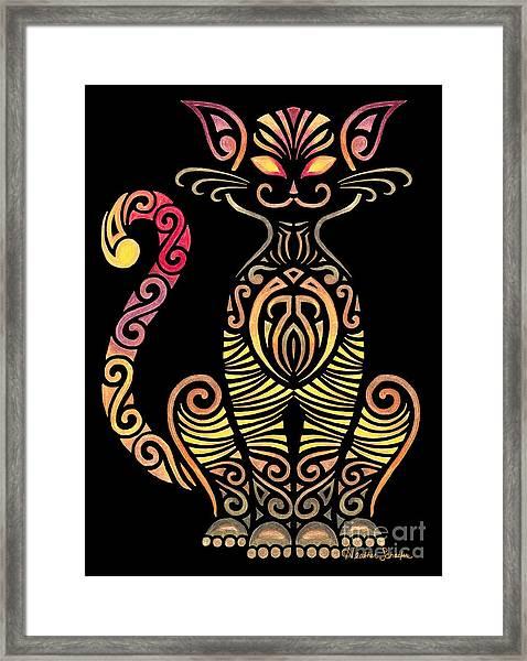 Tribal Cat Framed Print