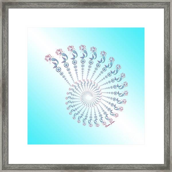 Tribal Mermaid Spiral Shell Framed Print