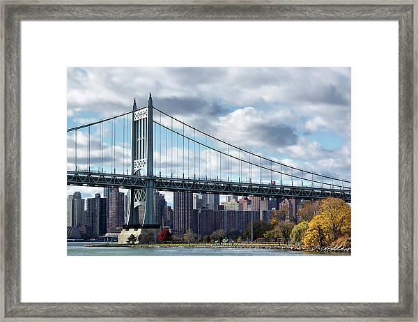 Triboro Bridge In Autumn Framed Print