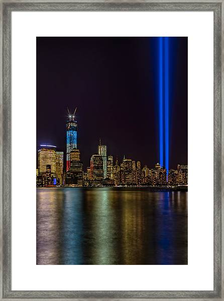 Framed Print featuring the photograph Tribute In Lights Memorial by Susan Candelario