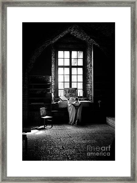 Tridentine Mass In An Ancient Chapel In The Old Dominican Monastery In Tallinn Framed Print