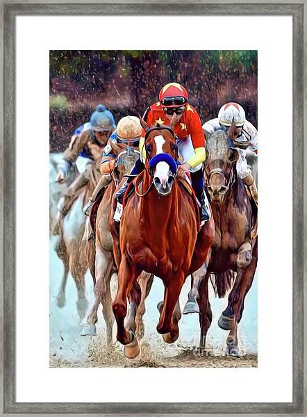 Triple Crown Winner Justify Framed Print