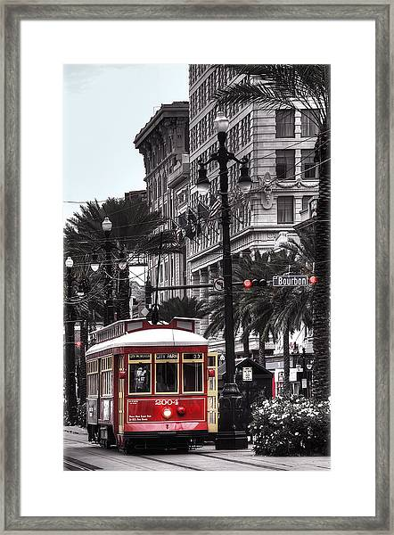 Trolley On Bourbon And Canal  Framed Print