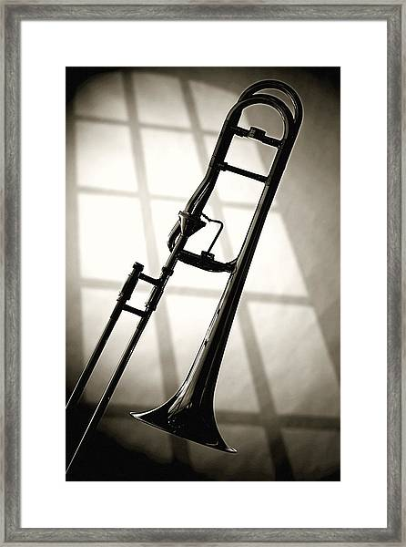 Trombone Silhouette And Window Framed Print