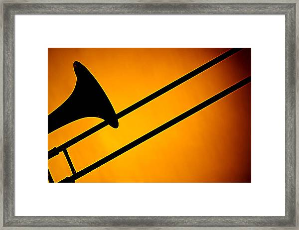 Trombone Silhouette On Gold Framed Print