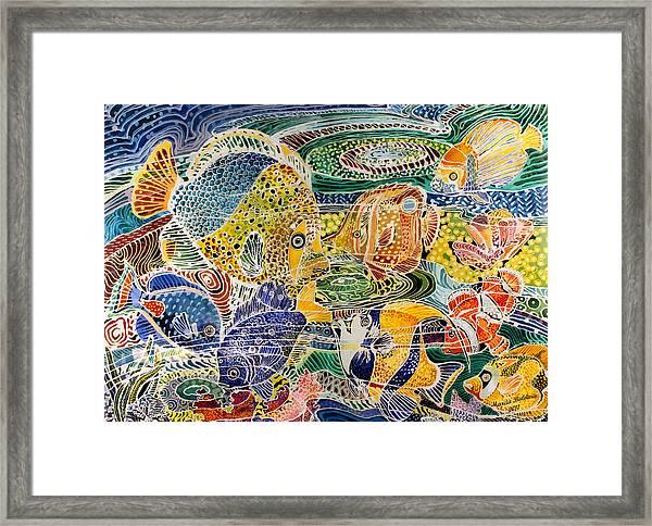 Tropical Splendor Batik Framed Print