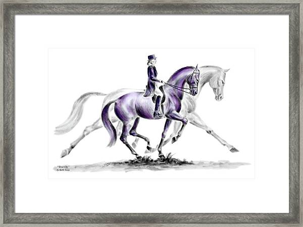 Trot On - Dressage Horse Print Color Tinted Framed Print