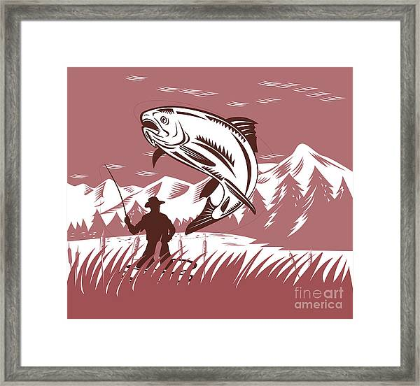 Trout Jumping Fisherman Framed Print