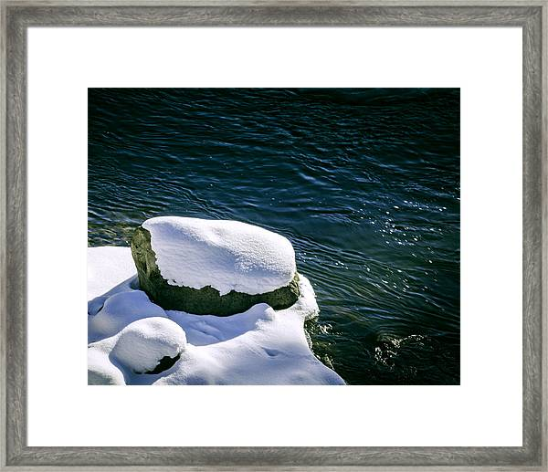 Framed Print featuring the photograph Truckee River Snow by William Havle