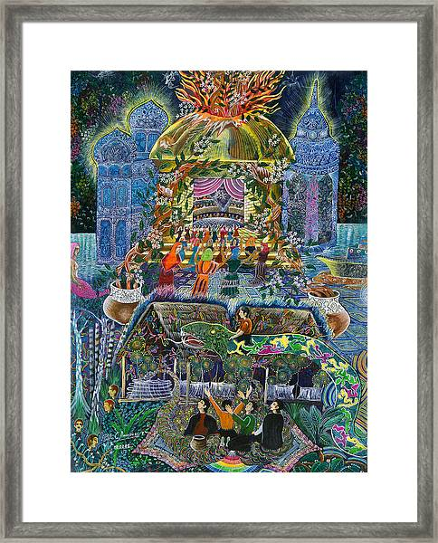 Framed Print featuring the painting Trueno Ayahuasca  by Pablo Amaringo