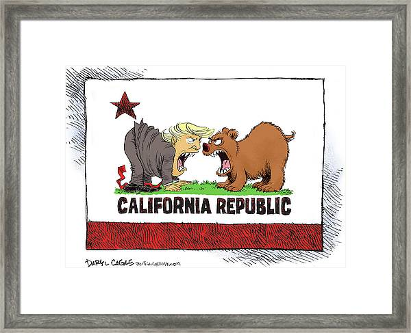 Trump And California Face Off Framed Print