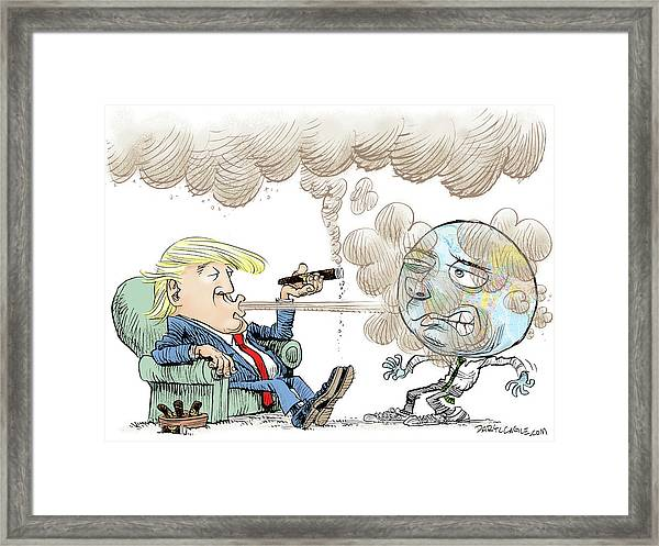 Trump And The World On Climate Framed Print