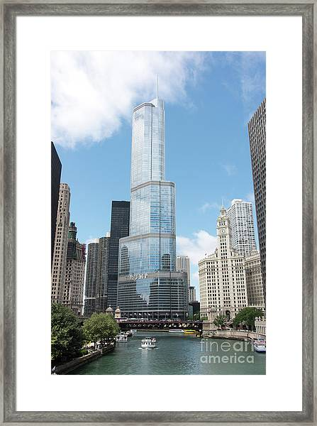 Trump Tower Overlooking The Chicago River Framed Print