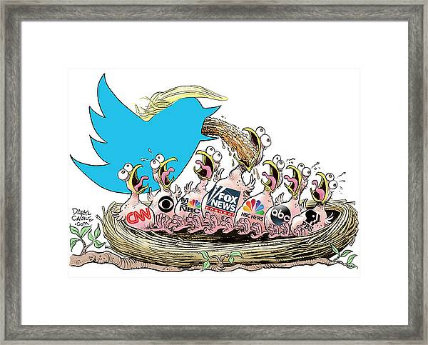 Trump Twitter And Tv News Framed Print
