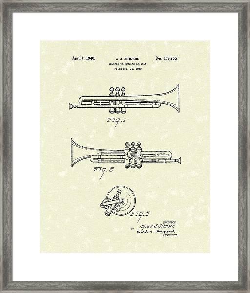 Trumpet 1940 Patent Art Framed Print