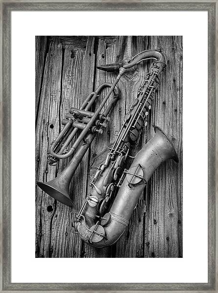 Trumpet And Sax Framed Print