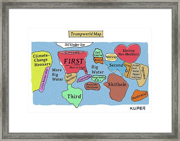Trumpworld Map Framed Print
