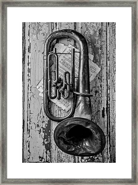 Tuba And Music On Door In Black And White Framed Print