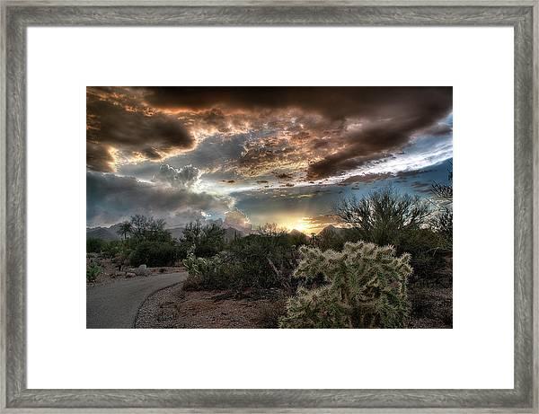 Tucson Mountain Sunset Framed Print