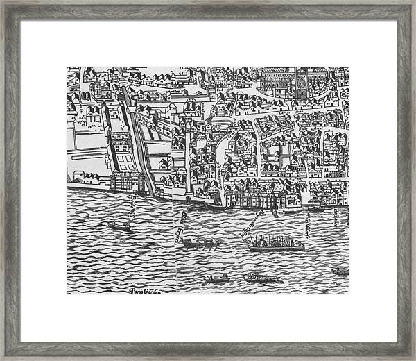 Tudor Map Showing Detail Of The River Thames Framed Print