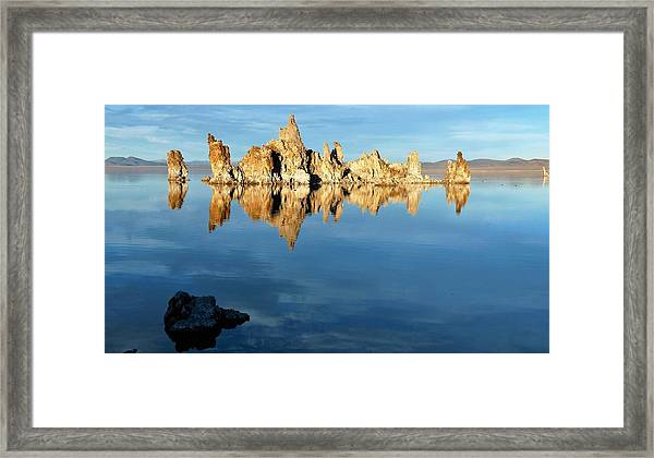 Tufa Reflection At Mono Lake Framed Print