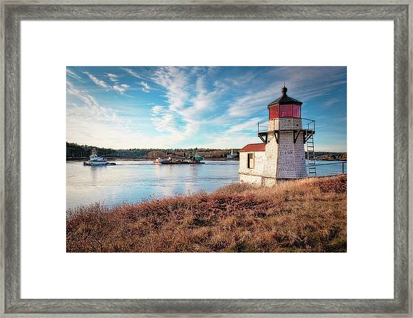 Tugboat, Squirrel Point Lighthouse Framed Print