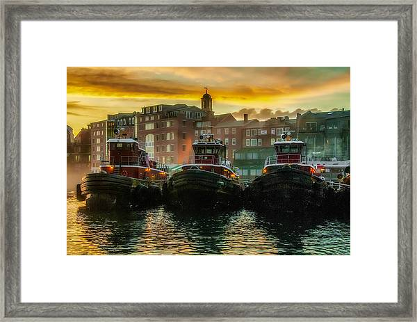 Tugboats In Portsmouth Harbor At Dawn Framed Print