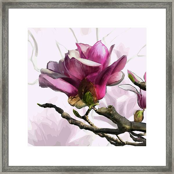 Framed Print featuring the digital art Tulip Trees by Gina Harrison