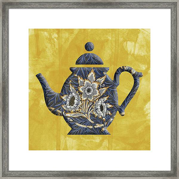 Tulips And Willow Pattern Teapot Framed Print