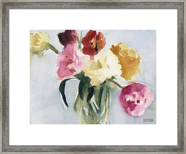 Tulips In My Studio Framed Print by Beverly Brown