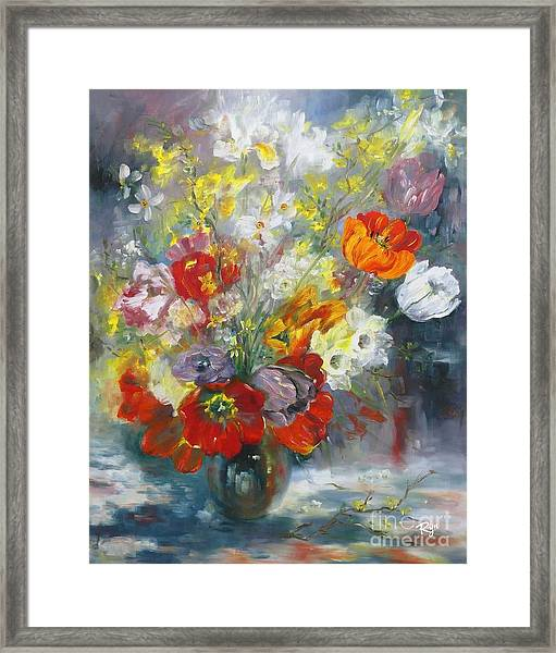 Tulips, Narcissus And Forsythia Framed Print