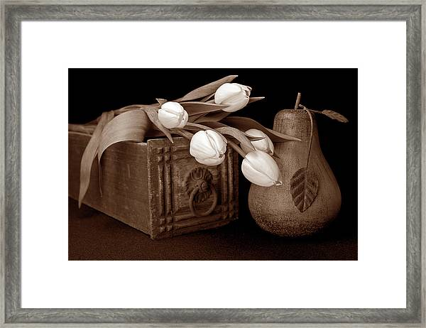 Tulips With Pear I Framed Print