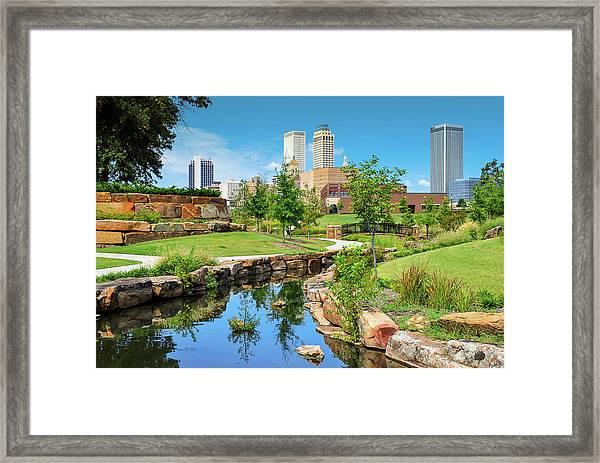 Tulsa Oklahomka Skyline View From Central Centennial Park Framed Print