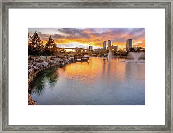 Tulsa Skyline Sunset - Oklahoma Cityscape Framed Print