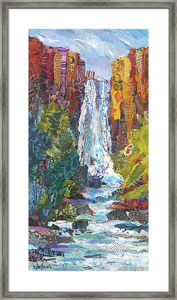 Framed Print featuring the painting Tumalo Falls Out And Back by Shelli Walters