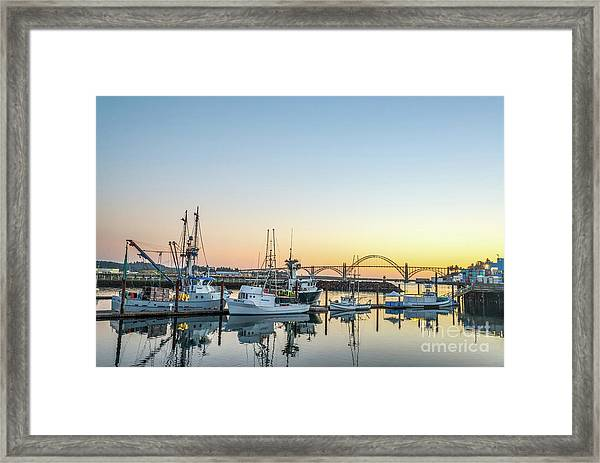 Tuna Boats Resting For The Night Framed Print