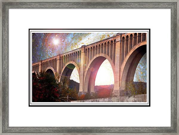 Tunkhannock Viaduct, Nicholson Bridge, Starry Night Fantasy Framed Print