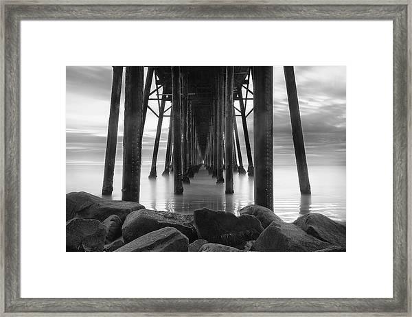 Tunnel Of Light - Black And White Framed Print